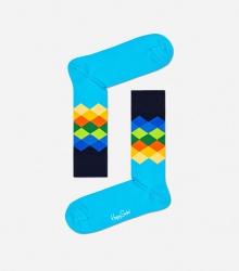 Skarpetki w kolorowe romby / niebieskie