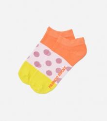 Kolorowe stopki damskie lawendowe kropki / żółto-pomarańczowe