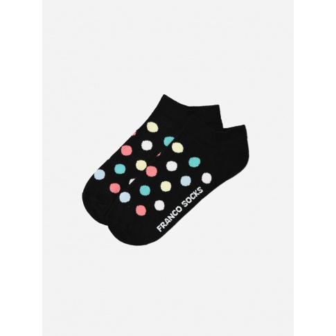 Kolorowe stopki damskie w kolorowe grochy / czarne