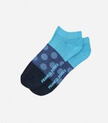 Kolorowe stopki męskie w niebieskie kropki / niebiesko-granatowe