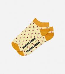 Kolorowe stopki damskie gwiazdki / jasno żółte