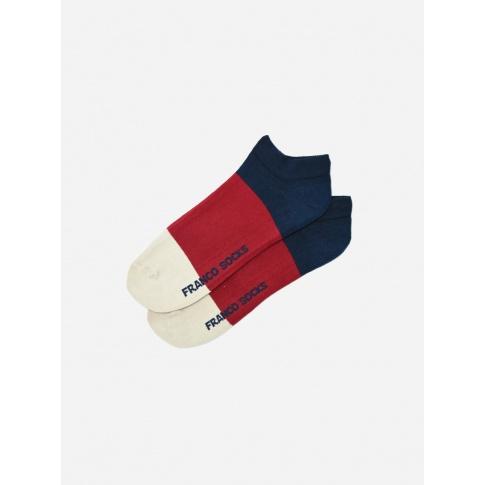 Kolorowe stopki męskie trzy kolory paski / granatowy