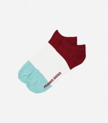 Kolorowe stopki męskie trzy kolory paski / bordowy