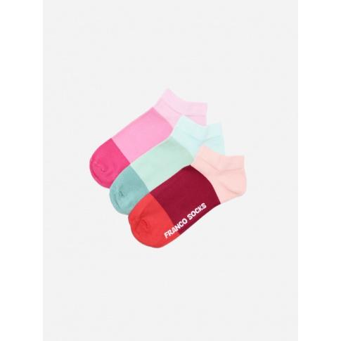 Kolorowe stopki damskie trzy kolory paski  / 3-pak