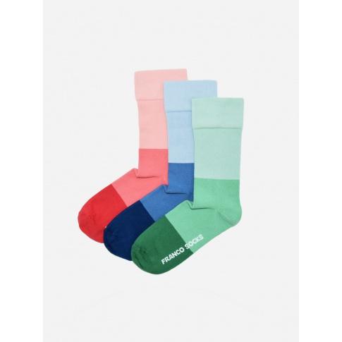 Kolorowe skarpety damskie trzy kolory pasy / 3-pak